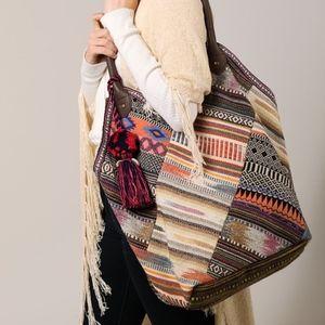 Handbags - NWT Boho Patchwork Woven Tote Bag
